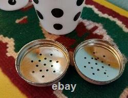 Vtg Black Polka Dot FIRE KING Anchor Hocking Milk Glass Salt & Pepper Shakers