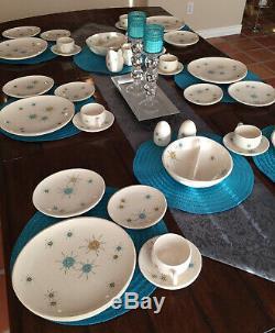 Vtg Franciscan Starburst Set Service for 6 + Salt Pepper Creamer Sugar 2 Bowls