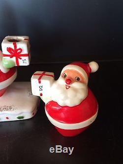 Vtg Holt Howard Santa triple candle holder + salt & pepper shakers