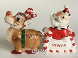 Vtg Kreiss Candy Cane Antler Reindeer Santa Sleigh Salt Pepper Shaker Set Xmas