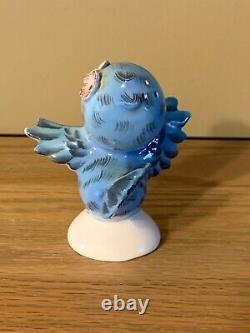 Vtg LEFTON MR. & MRS. BLUEBIRD SALT & PEPPER SHAKERS RHINESTONES & FLOWER # 239