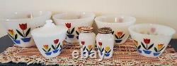 Vtg MINT Fire King Tulip Nesting Bowl Set 4, Grease Jar with Lid, Salt/Pepper