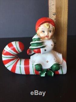 Vtg Napco boy sitting on candy cane salt pepper shakers ceramic Christmas Japan