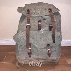 Vtg SWISS ARMY Rucksack Salt & Pepper Canvas Leather Backpack Military Pack 1969