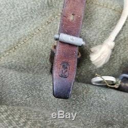 Vtg Sattler Swiss Army Military Backpack Rucksack Salt and Pepper Leather Canvas