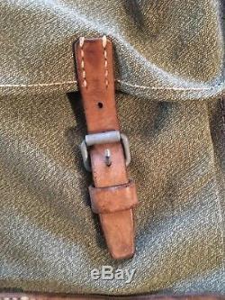 Vtg Swiss Army Military Canvas & Leather Salt & Pepper Backpack Rucksack