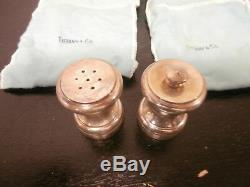 Vtg TIFFANY & Co. Sterling Silver Salt Shaker and Pepper Grinder with Original Box