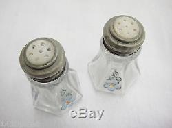 Westmoreland Stacking Breakfast Sugar Creamer Salt Pepper Condiment Set Flowers