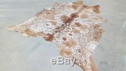 XXLARGE Cowhide Rug SALT AND PEPPER BROWN BRAZILIAN 8'4x7'2 Ft Cow Hide skin