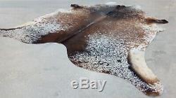 XXLARGE Cowhide Rug SALT AND PEPPER BROWN BRAZILIAN 8'x6'5 Ft Cow Hide skin