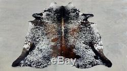 XXLARGE Cowhide Rug SALT & PEPPER TRICOLOR BRAZILIAN 7'7x6'4 Ft Cow Hide skin