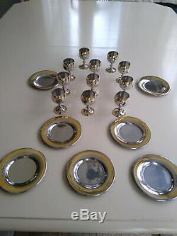 Zepter Stainless Steel 18/10 Chalices and Saucers with Gold Colored Rim